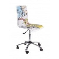 Silla oficina elevable y con ruedas blanca estampada Young Comics 36,50x40x43,50-55,50cm
