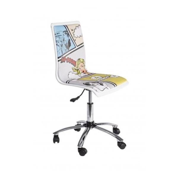 silla oficina elevable y con ruedas blanca estampada young