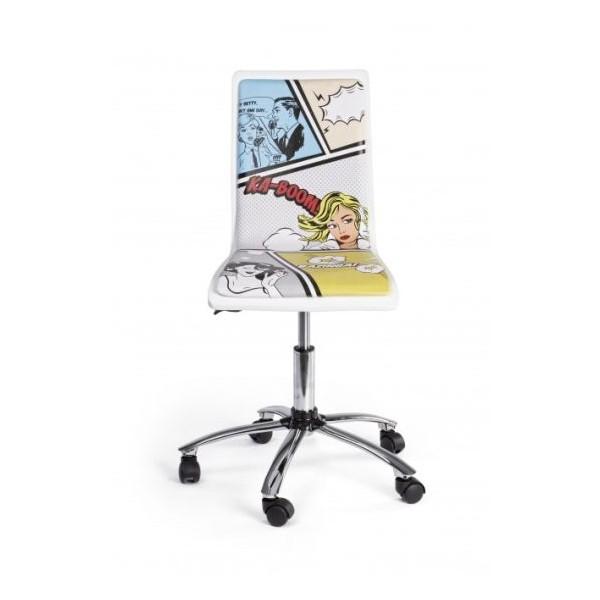 Silla oficina elevable y con ruedas blanca estampada young for Silla oficina blanca
