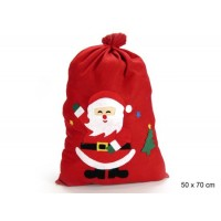 Saco tela para regalos Navidad rojo con Papa Noel 50x70 cm