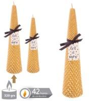 Vela navideña dorada cónica con relieve 6,3x25h cm