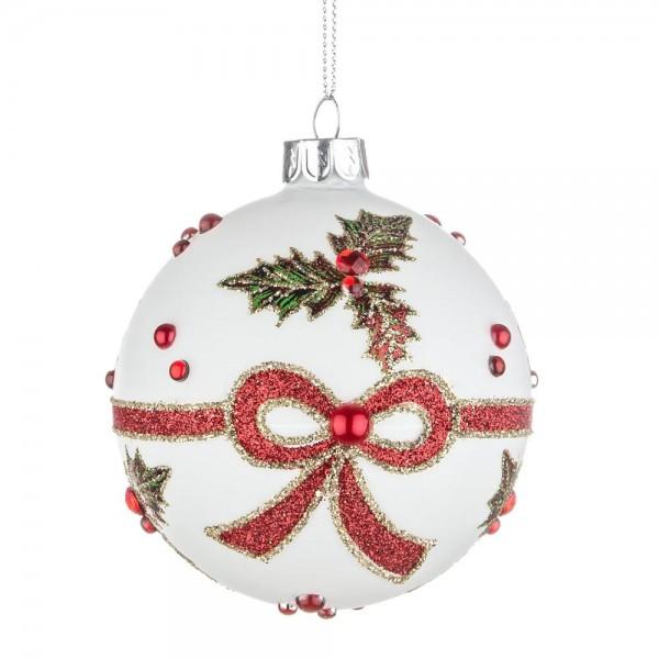 Bola rbol de navidad cristal blanco estampado acebo y - Bola arbol navidad ...