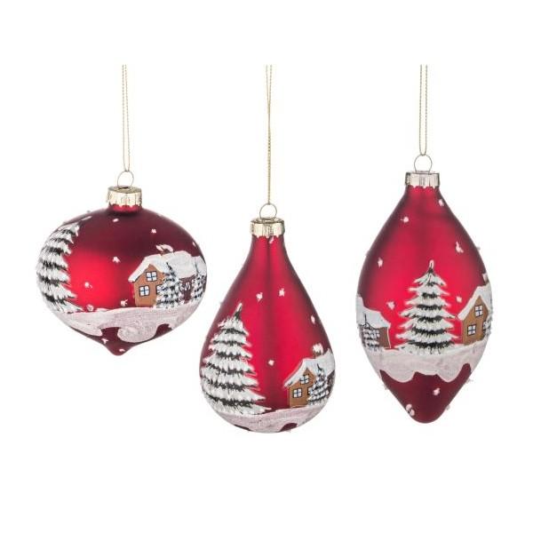 Bola rbol de navidad cristal roja estampado casa nevada 3 for Arbol de navidad con bolas rojas