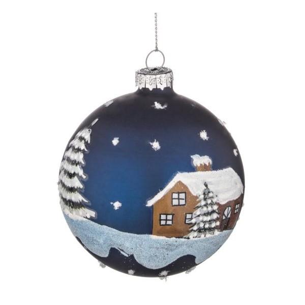 Bola rbol de navidad cristal azul estampado casa nevada 8cm - Bola arbol navidad ...