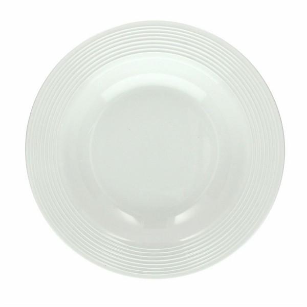 Plato hondo redondo porcelana blanca polis circles 22cm for Platos porcelana blanca