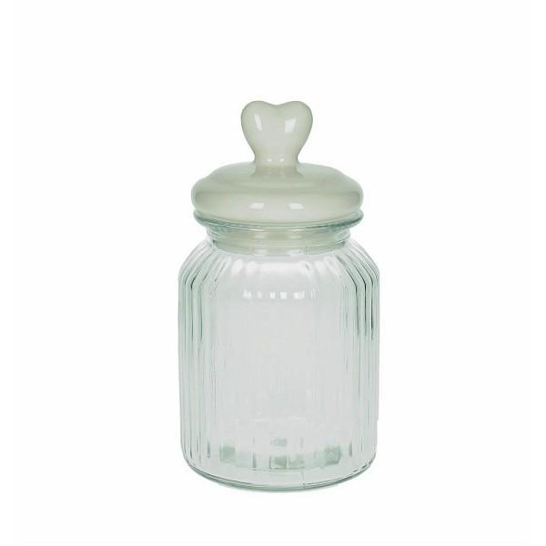 Bote cristal con tapa cer mica blanca con coraz n darling - Bote cristal con tapa ...