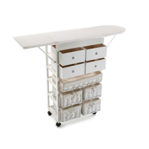 Mueble cajonera blanco madera con mesa plancha con 5 for Muebles con cestas