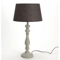 Lámpara de mesa con pie madera y pantalla gris oscuro 55h cm