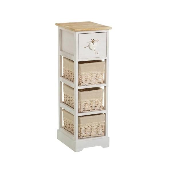 Mueble cajonera estrecho con 1 caj n coraz n y 3 cestas for Mueble estrecho cocina