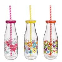 Botella vidrio con tapa y pajita 3 estampados rosa, amarillo o naranja 400ml