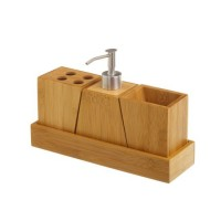 Set baño en madera bambú 4 piezas: dispensador jabón, vaso, vaso cepillos y bandeja