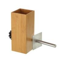Escobilla baño cuadrado en madera de bambú 10x10x23h cm