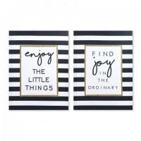 Cuadro rectangular serigrafiado frases Enjoy con fondo rayas en negro y dorado 30x40 cm