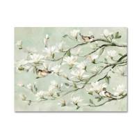Lienzo pintado óleo fondo beige y flores magnolio 100x80 cm