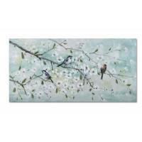 Lienzo cuadro apaisado ramas árbol flores blancas y pajaritos 140x70 cm