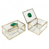 Caja joyero vintage metal dorado y cristal ágata verde 15x10x6hcm