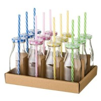 Botella cristal con tapa y pajita en 4 colores rosa, azul, amarillo o verde 330ml