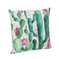 Cojín cuadrado con relleno estampado cactus con flor Tropical 45x45cm