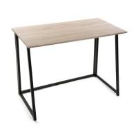 Mesa escritorio plegable madera mdf y patas metálicas negras 91,5x45xh74cm