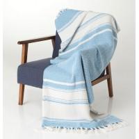 Manta verano de algodón beige y turquesa Alizee 130x170 cm
