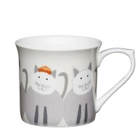 Taza mug con asa porcelana fina decoración gatitos 300ml