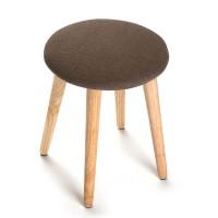 Taburete redondo con pata de madera y textil marrón 36x42 cm