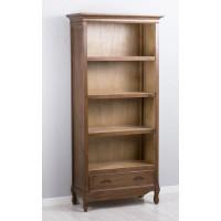 Librería madera marrón oscuro con 4 baldas y cajón inferior 83x37xh179cm