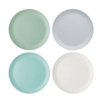 Set 4 platos llanos melamina 28cm colores pastel Colourworks Classics