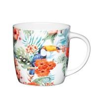 Taza mug con asa porcelana fina decoración tropical Toucan 425ml