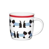 Taza mug con asa porcelana fina decoración perritos Standing Westies 425ml
