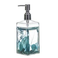 Dispensador de jabón baño acrílico transparente relleno piedras y hojas azules 7x7x20h cm