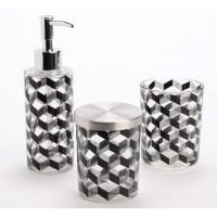 Set 3 piezas accesorios baño crista con dibujo geométrico negro