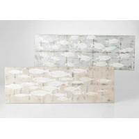 Lienzo cuadro apaisado banco de peces piedras relieve 2 colores 150x50 cm