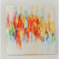 Lienzo cuadro abstracto tonos rojos y amarillos Colorful 90x90 cm
