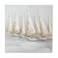 Lienzo cuadro barcos veleros en regata tonos beige y gris 80x80 cm