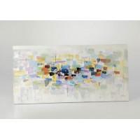 Lienzo cuadro abstracto cuadrados colores y plata 140x70 cm