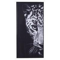 Lienzo cuadro cabeza de leopardo blanco y negro 117x57 cm