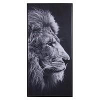 Lienzo cuadro cabeza de león blanco y negro 117x57 cm