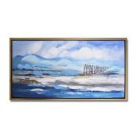 Lienzo cuadro con marco dorado mar azul y verde 2 modelos 105x55 cm