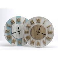 Reloj de pared tablas de madera y números de cuerda 2 modelos Ø40 cm