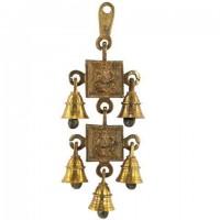 Campanas móviles 2 Ganesha 5 campanas en bronce 10x24 cm