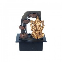 Figura resina Elefante Ganesha dorado con fuente de agua lateral 20,5x17,5x25h cm