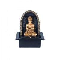 Figura resina Buda dorado con fuente de agua pared trasera en arco 20,5x17,5x26h cm