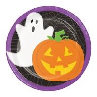 Platos papel redondos 18cm 8 unidades Calabaza y Fantasma Friendly Halloween