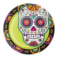 Platos papel redondos 18cm 8 unidades Calaveras Mexicanas decoradas Día de los Muertos