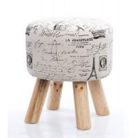 Taburete puff redondo patas madera y textil beige estampado París 30x30x35h cm