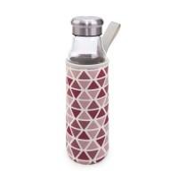 Botella de vidrio de borosilicato transparente con tapón y funda con asa rosa 550ml
