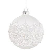 Bola árbol de Navidad cristal blanco decoración encaje y perlas Burano 8cm