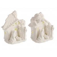 Belén navideño con luz porcelana blanca pequeño 2 modelos 11,8x8x13,5h cm