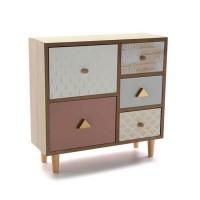 Mueble de sobremesa madera joyero 5 cajones Tropical piñas doradas 32x11x31h cm